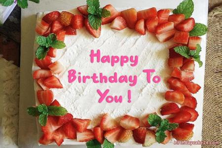 Strawberry Fruit Birthday Cake With Your Name