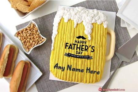 Happy Father's Day Birthday Cake With Name Edit