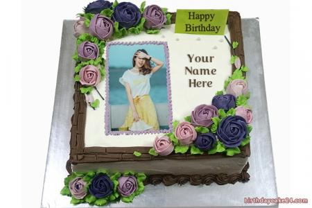 Purple Flower Birthday Cake With Name And Photo Edit