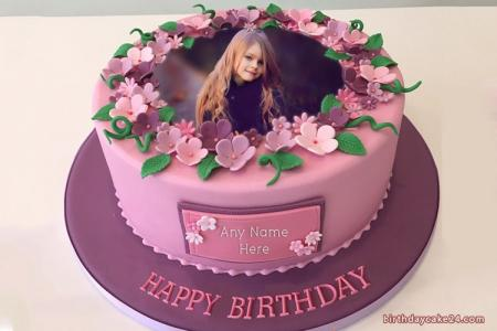 Happy Flower Birthday Cake With Name And Photo Edit