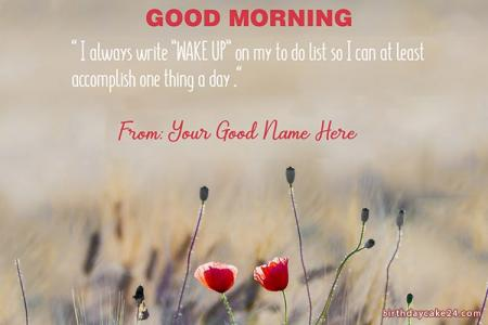 Beautiful Good Morning Wish Card With Flower