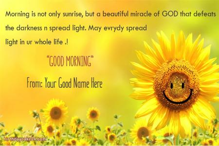 Write Name On Good Morning Greeting Card With Sunflowers