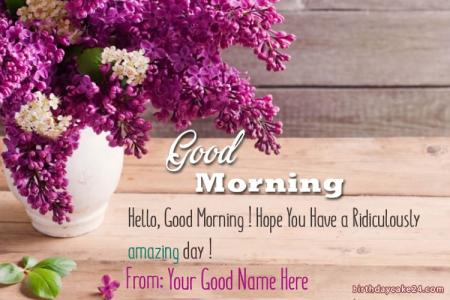 Write Name On Good Morning Flowers Greeting Card