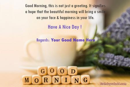 Good Morning Wish Card With Name Online