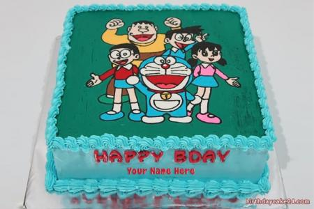 Doraemon Birthday Cake With Name For Kid