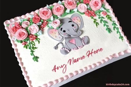 Lovely Elephant Birthday Cake With Name Edit