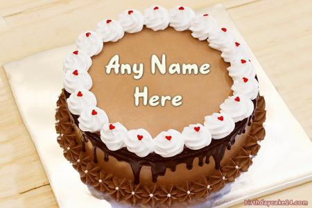 Lovely Chocolate Birthday Cake With Name Edit