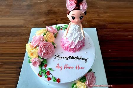 Lovely Princess Happy Birthday Cake For Girls With Name