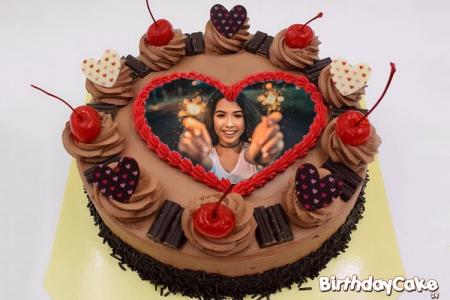 Happy Birthday Chocolate Cake With Photo Frame