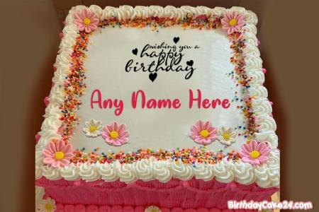 Beautiful Flowers Birthday Cake With Name