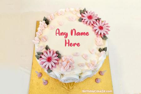 Generate Flower Birthday Cakes Images With Name Editor