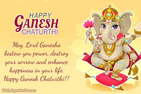 Happy Ganesh Chaturthi Card With Wishes Generator