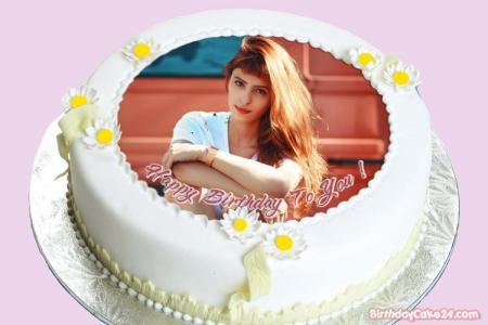 Name Photo On Lovely Flower Birthday Cake