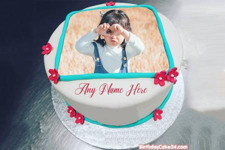 Lovely Flower Birthday Cake With Name And Photo Edit