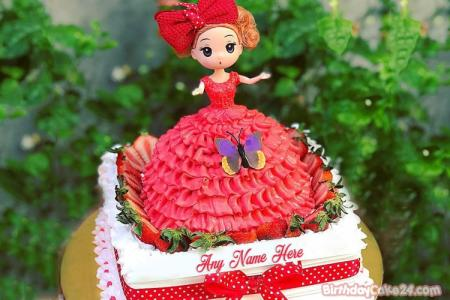 Lovely Princess Cake For Girls With Name Editor