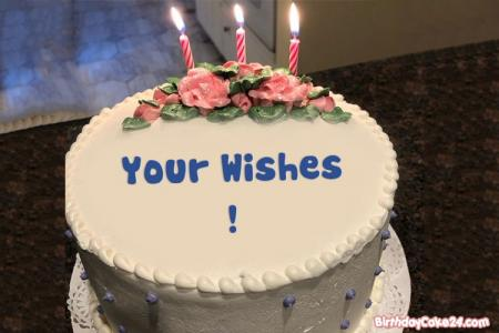 Write Name On Happy Birthday Cake With Candles