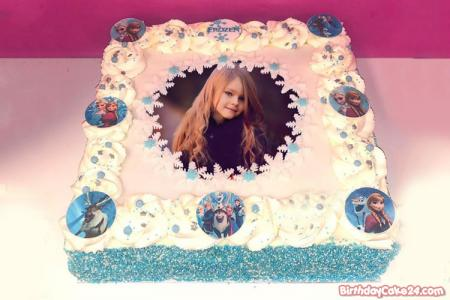 Lovely Frozen Elsa Birthday Cake With Photo Editing