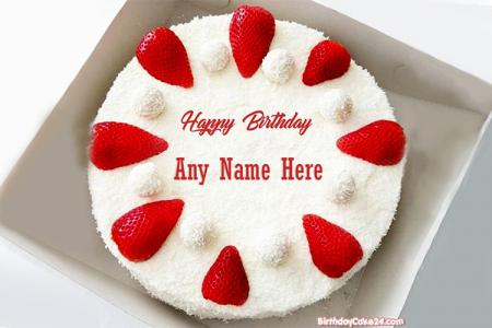 Print Name On Strawberry Birthday Cake With Name
