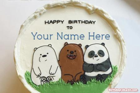 We Bare Bears Birthday Cake With Name For Kids