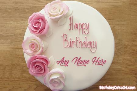 Pink Rose Birthday Cake Of Name Generator