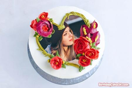 Photo On Heart Shaped Birthday Cake Online