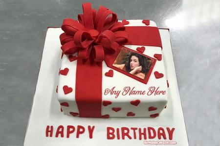Lovely Box Cake With Name And Photo Edit