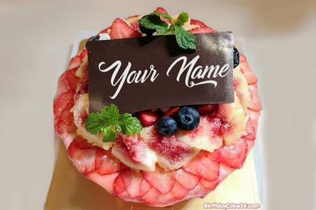 Write Name On Strawberry Birthday Cake Chocolate