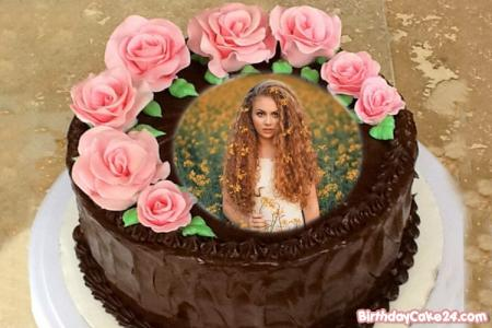 Best Online Flower Chocolate Cake With Photo Frame
