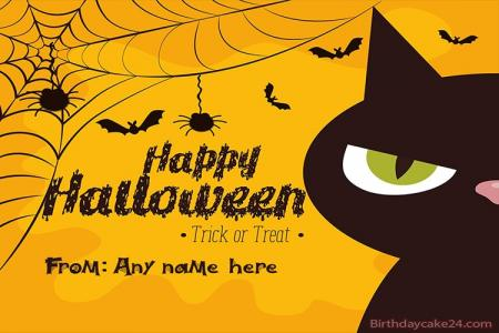 Black Cat Halloween Names Cards