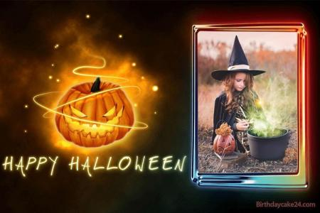 Pumpkin Halloween Card With Photo Frames