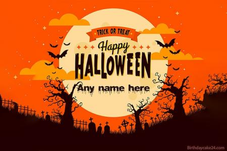 Free Halloween Wishes Card With Your Name