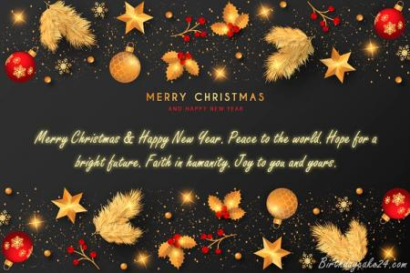 Golden Merry Christmas Greeting Cards With Name Wishes