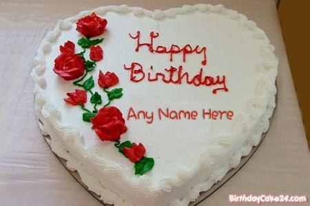 Write Name On Red Rose Heart Birthday Cake