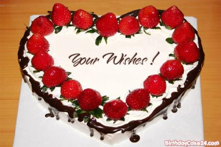 Strawberry Heart Birthday Cake With Name Editor