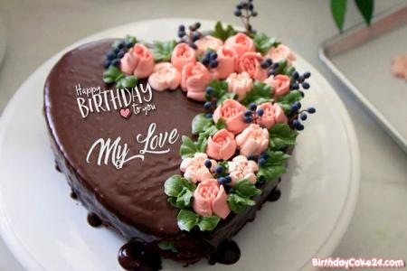 Flower Chocolate Cakes With Name Generator