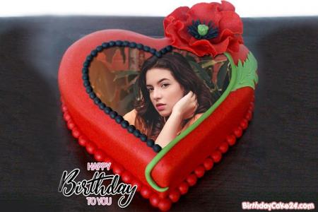 Red Heart Birthday Cake With Photo Frame Free Download