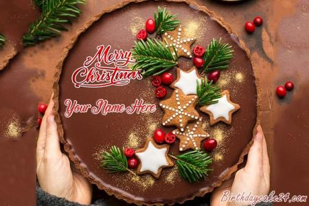 Chocolate Merry Christmas Cake With Name Edit