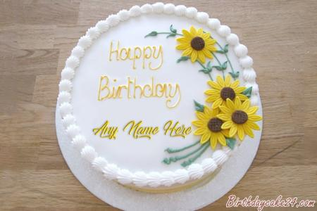 Beautiful Sunflower Birthday Cake With Your Name