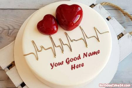 Write Your Name On 3D Heart Birthday Cake