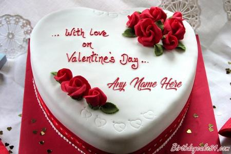 Valentine's Day Rose Cake With Name Edit