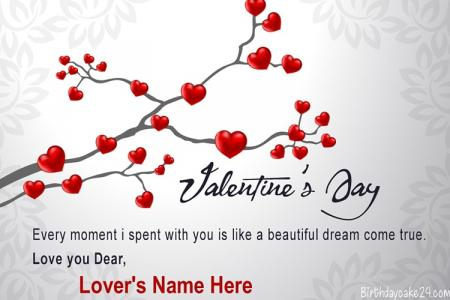 Write Name On Happy Valentine's Day Wishes Card