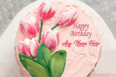 Lovely Tulip Cake With Name Edit