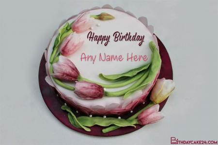 Beautiful Lovely Flower Cakes With Name Edit