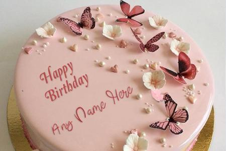 Butterflies On Happy Birthday Cake With Name Online