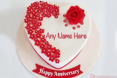 Red Rose Anniversary Cakes With Name Generator