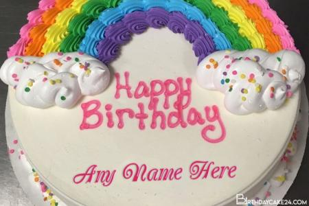 Rainbow Happy Birthday Cake For Kids With Name Edit