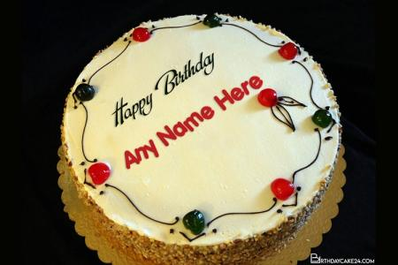 Fresh Cherry Cake With Cream With Name Editor