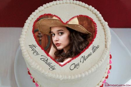 Romantic Birthday Cake For Lover With Name & Photo Edit