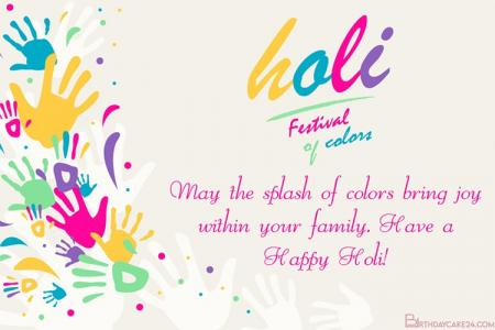 Online Holi Festival Greetings Cards Maker Free