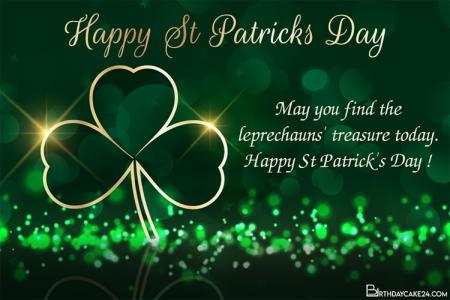 St Patrick's Day With Shamrock Greeting Card Online